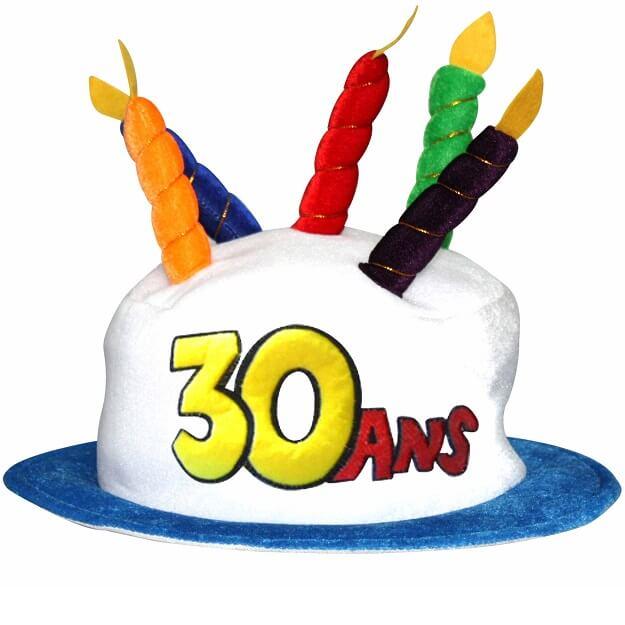 Cadeau adulte chapeau anniversaire 30ans multicolore