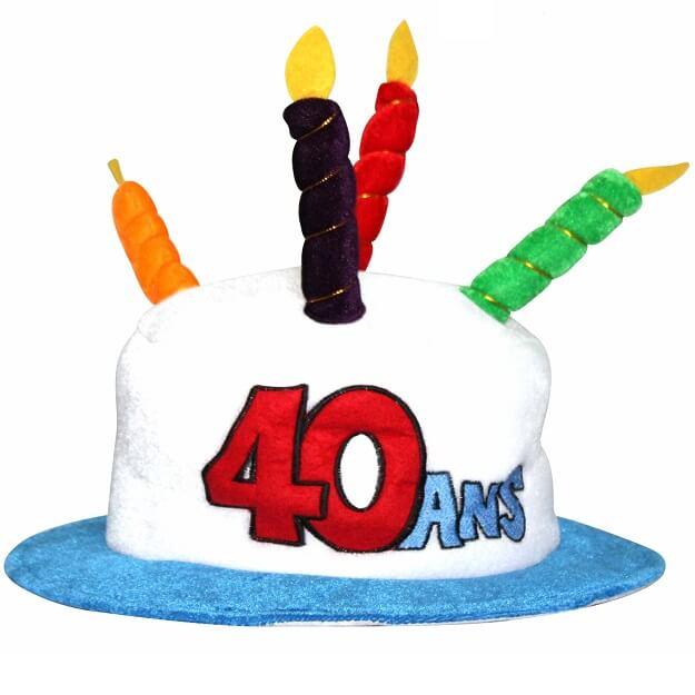 Cadeau adulte chapeau anniversaire 40ans multicolore