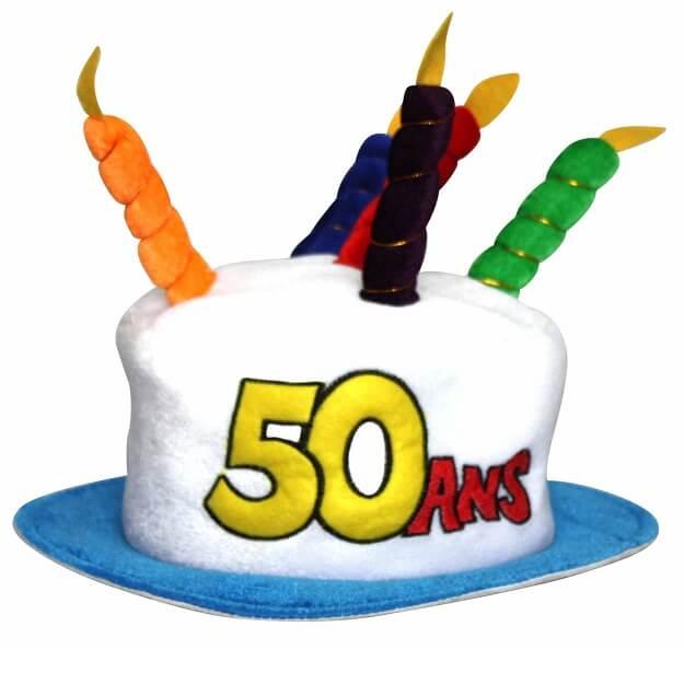 Cadeau adulte chapeau anniversaire 50ans multicolore