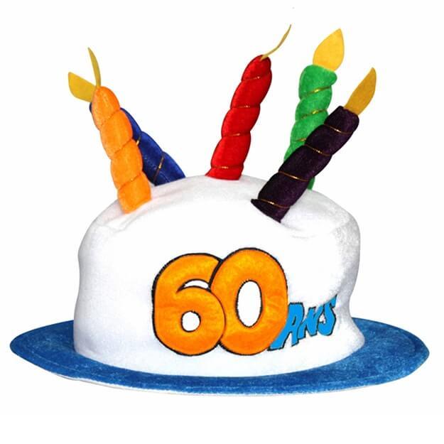 Cadeau adulte chapeau anniversaire 60ans multicolore