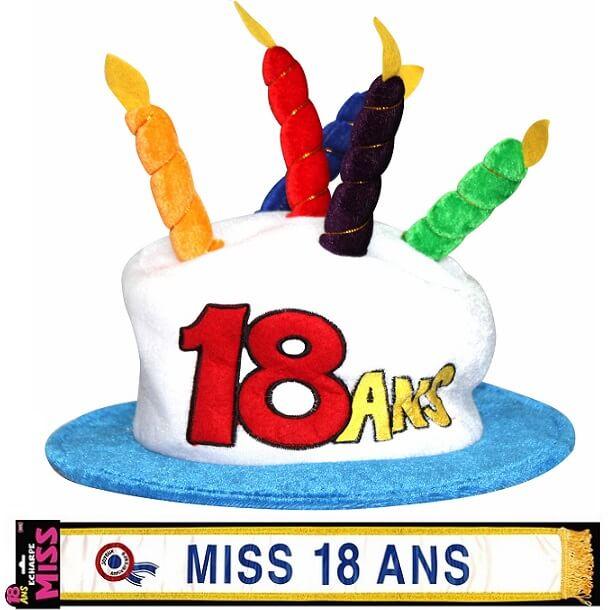 Cadeau adulte chapeau et echarpe anniversaire 18ans femme