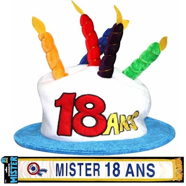 Cadeau adulte chapeau et echarpe anniversaire 18ans homme