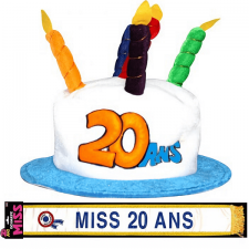 Cadeau adulte 1 écharpe et 1 chapeau anniversaire 20ans REF/CHA02-ECHB02