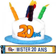 Cadeau adulte 1 écharpe et 1 chapeau anniversaire 20ans REF/CHA02-ECHB18H