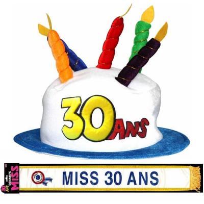 Cadeau adulte 1 écharpe et 1 chapeau anniversaire 30ans REF/CHA03-ECHB03