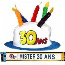 Cadeau adulte 1 écharpe et 1 chapeau anniversaire 30ans REF/CHA03-ECHB19H
