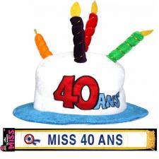 Cadeau femme 1 écharpe et 1 chapeau anniversaire 40ans REF/CHA04-ECHB04
