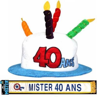 Cadeau homme 1 écharpe et 1 chapeau anniversaire 40ans REF/CHA04-ECHB20H