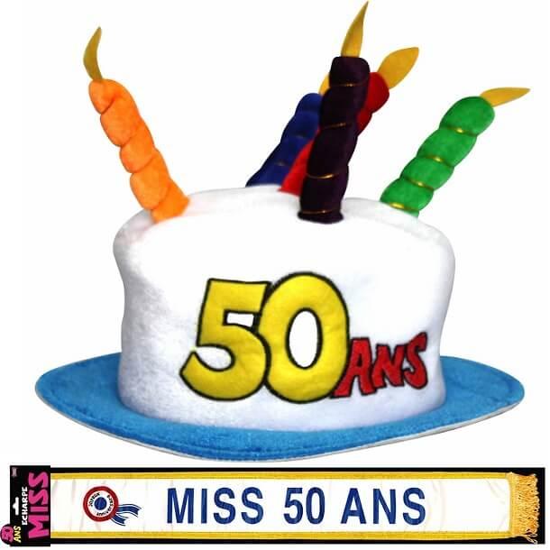 Cadeau adulte chapeau et echarpe anniversaire 50ans femme