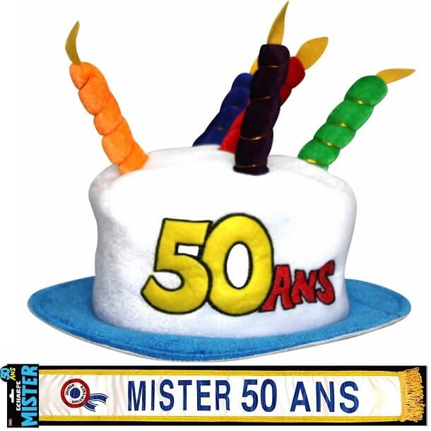 Cadeau adulte chapeau et echarpe anniversaire 50ans homme