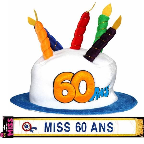 Cadeau adulte chapeau et echarpe anniversaire 60ans femme
