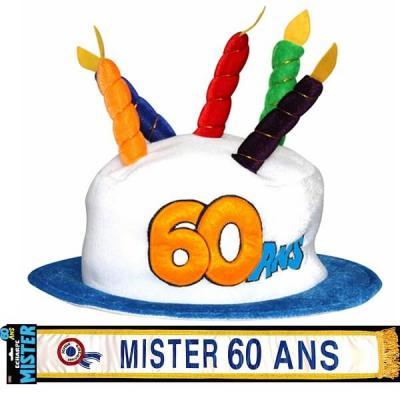 Cadeau homme 1 écharpe et 1 chapeau anniversaire 60ans REF/CHA06-ECHB22H