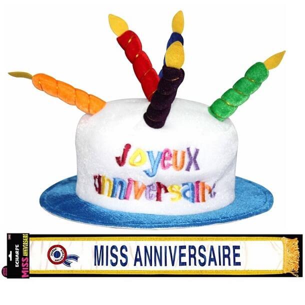 Cadeau adulte chapeau et echarpe joyeux anniversaire femme