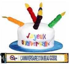 Cadeau adulte 1 écharpe et 1 chapeau joyeux anniversaire REF/CHA00-ECHB11