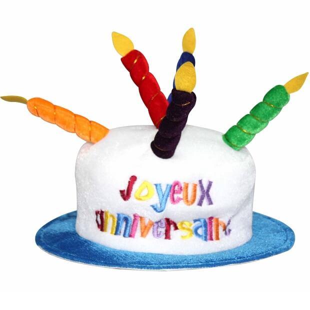 Cadeau adulte chapeau joyeux anniversaire multicolore