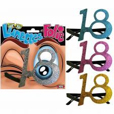 Cadeau adulte lunettes pailletées anniversaire 18ans (x1) REF/LUNA01