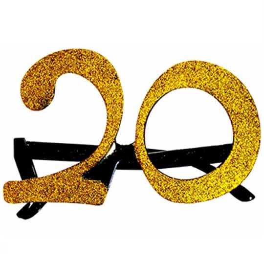 Cadeau adulte lunettes anniversaire 20ans or
