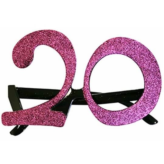 Cadeau adulte lunettes anniversaire 20ans rose fuchsia