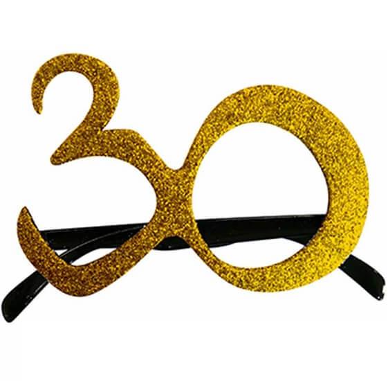 Cadeau adulte lunettes anniversaire 30ans or