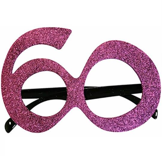 Cadeau adulte lunettes anniversaire 60ans rose fuchsia