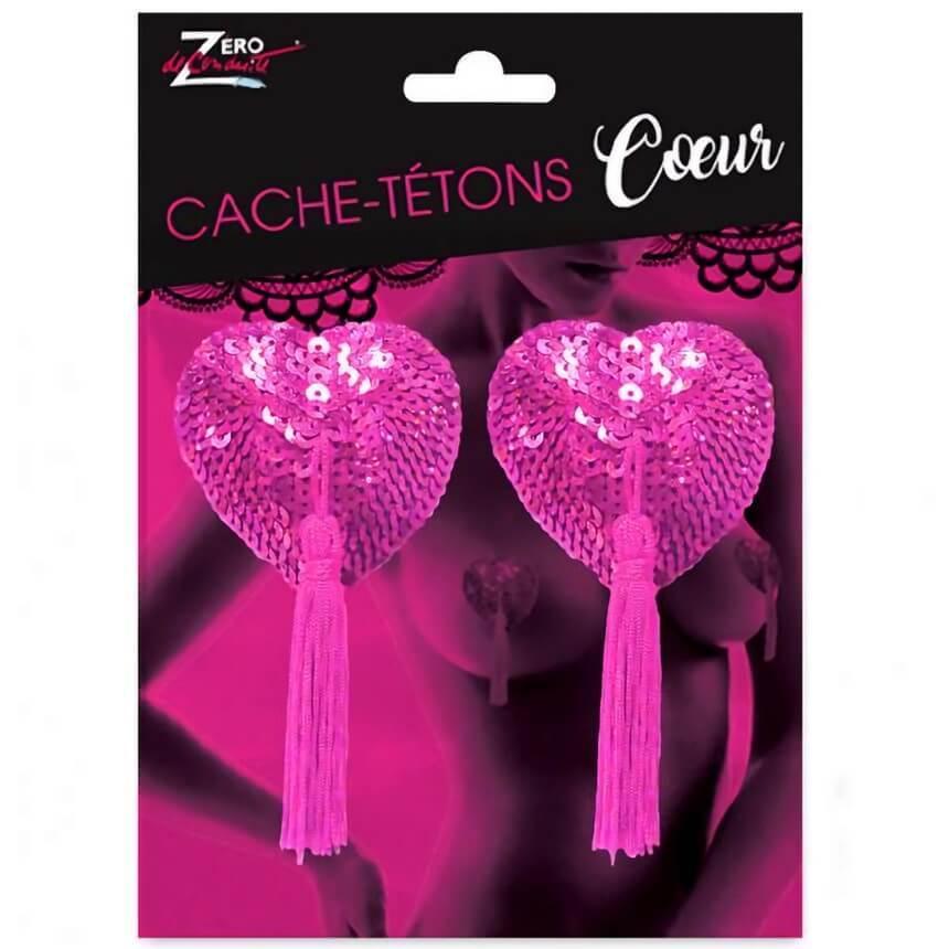 Cadeau adulte sexy cache tetons coeur rose fuchsia