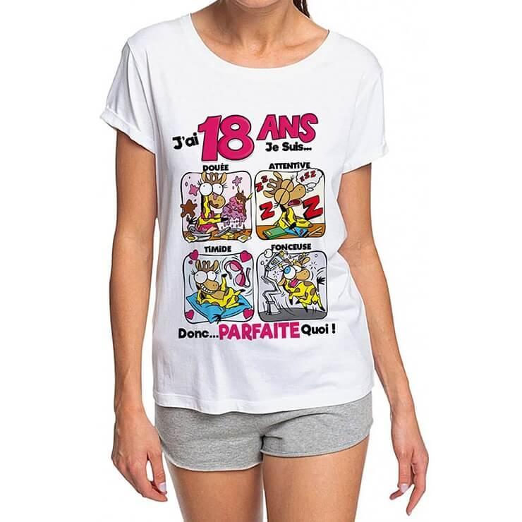 Cadeau anniversaire 18ans pour femme avec t shirt