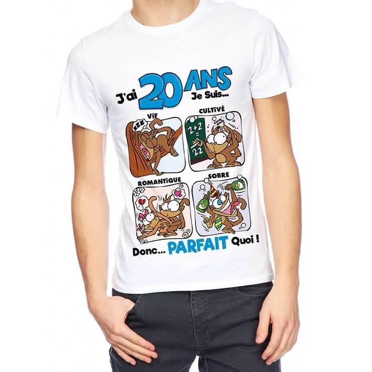 Cadeau anniversaire 20ans pour homme avec t shirt