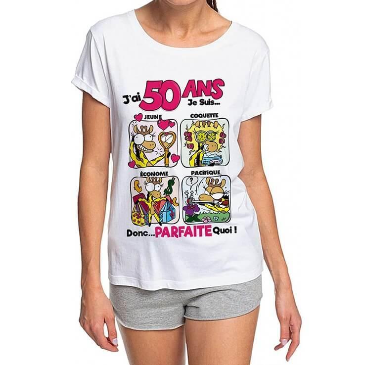 Cadeau anniversaire 50ans pour femme avec t shirt