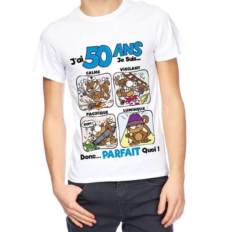 Cadeau anniversaire 50ans pour homme avec t shirt