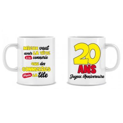 Cadeau humoristique avec mug anniversaire 20 ans (x1) REF/MUGA02