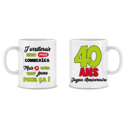 Cadeau humoristique avec mug anniversaire 40 ans (x1) REF/MUGA04