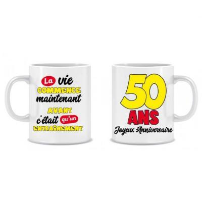 Cadeau humoristique avec mug anniversaire 50 ans (x1) REF/MUGA05