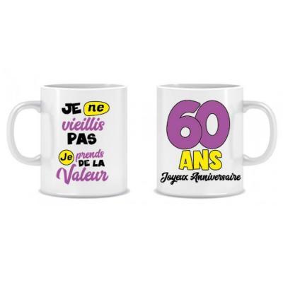 Cadeau humoristique avec mug anniversaire 60 ans (x1) REF/MUGA06