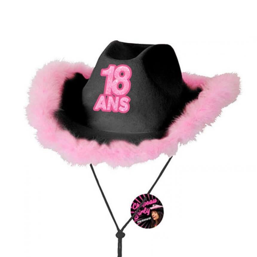 Cadeau chapeau anniversaire 18ans noir et rose fuchsia