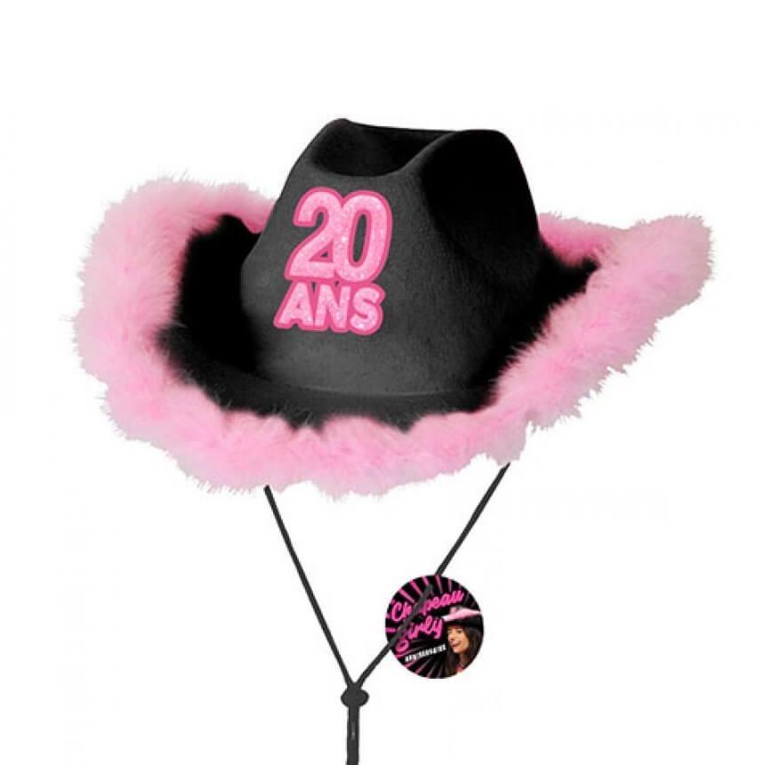 Cadeau chapeau anniversaire 20ans noir et rose fuchsia