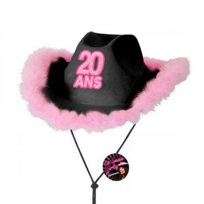 Cadeau avec chapeau anniversaire 20 ans noir et rose fuchsia (x1) REF/CHAG02N
