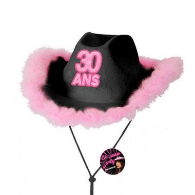 Cadeau avec chapeau anniversaire 30 ans noir et rose fuchsia (x1) REF/CHAG03N