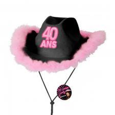 Cadeau avec chapeau anniversaire 40 ans noir et rose fuchsia (x1) REF/CHAG04N