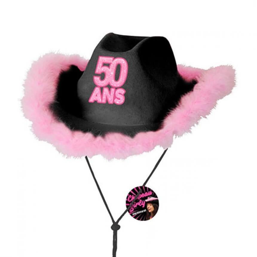 Cadeau chapeau anniversaire 50ans noir et rose fuchsia