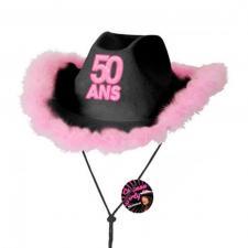 Cadeau avec chapeau anniversaire 50 ans noir et rose fuchsia (x1) REF/CHAG05N