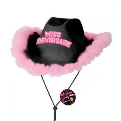 Cadeau avec chapeau miss anniversaire noir et rose fuchsia (x1) REF/CHAG00N