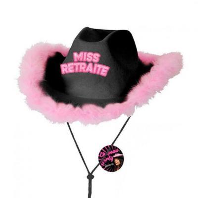 Cadeau avec chapeau miss retraite noir et rose fuchsia (x1) REF/CHAG07N