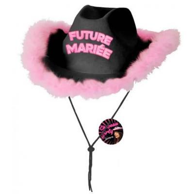 Chapeau enterrement de vie de jeune fille noir et rose fuchsia (x1) REF/CHAG08N