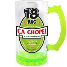 Chope à bière anniversaire 18ans vert 50cl pour cadeau (x1) REF/CBC01V