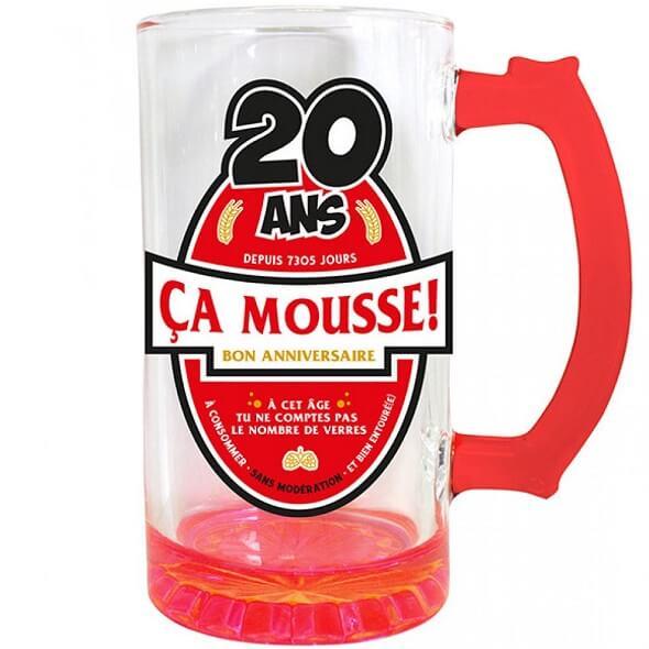 Cadeau chope a biere anniversaire 20ans rouge