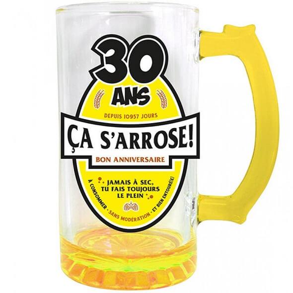 Cadeau chope a biere anniversaire 30ans jaune