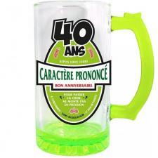 Chope à bière anniversaire 40ans vert 50cl pour cadeau (x1) REF/CBC04V