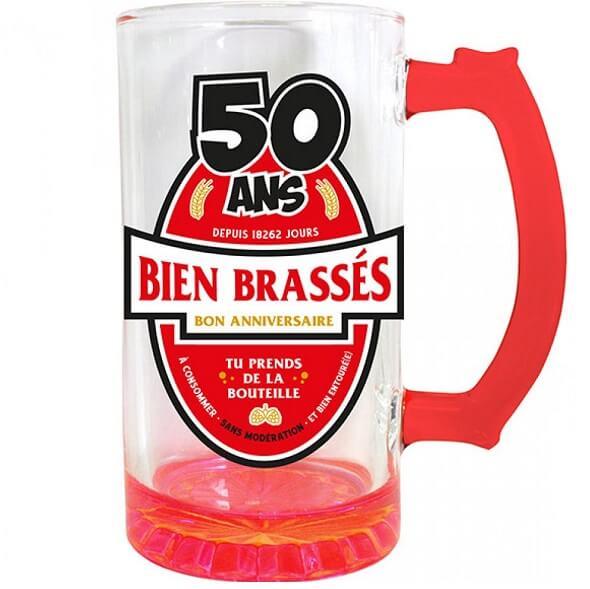 Cadeau chope a biere anniversaire 50ans rouge