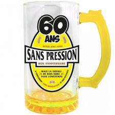 Chope à bière anniversaire 60ans jaune 50cl pour cadeau (x1) REF/CBC06J