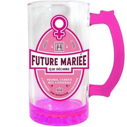 Cadeau chope a biere enterrement de vie de jeune fille rose fuchsia